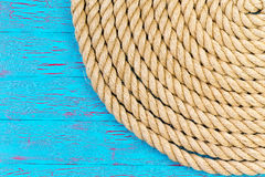 Rope in corner of blue ocean theme Stock Photos