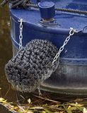 The rope covered transom of a narrow boat on the canal in Nottingham. stock photos