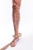 Rope das Halten des menschlichen Beines, das Krampfadern des unteren extrem schmerzt Stockbilder