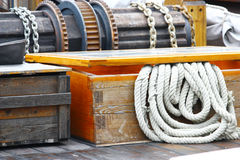 Rope on deck. Of fish ship stock photo