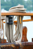 Rope on deck. Of old ship royalty free stock image