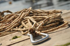 Rope on deck Stock Image