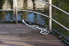The rope on the deck of a boat Royalty Free Stock Photo