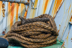 Rope on the deck. Of the old fishing ship Royalty Free Stock Image