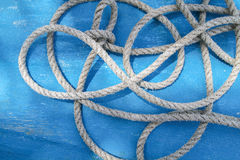 Rope on a deck of an old wooden boat, Boracay Island, Philippines Stock Photo