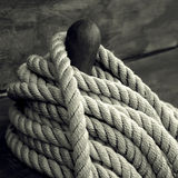 Rope. On deck of an sailboat old style Royalty Free Stock Photos