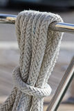 Rope on the deck of sailing yacht Royalty Free Stock Photo