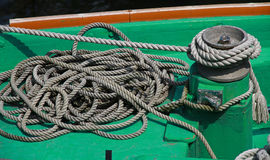 Rope of the deck of the ship Stock Photography