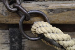 Rope detail I. Rope detail of old wooden ship Royalty Free Stock Images
