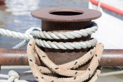 Rope docking ship in shipyard. Detail of a rope docking ship in shipyard royalty free stock image