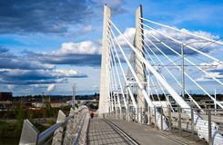 Rope el puente de travesía de Tilikum con acro central concreto de las ayudas Fotografía de archivo libre de regalías