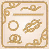 Rope elements. Collection of rope templates with knots, corners and frames stock illustration