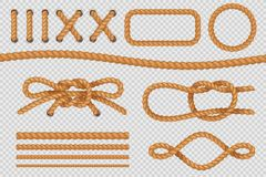 Rope elements. Marine cord borders, nautical ropes with knot, old sailing loop. Vector set vector illustration