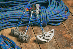 Rope and equipment for climbing Royalty Free Stock Images