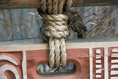 Rope fastening on sign Royalty Free Stock Image