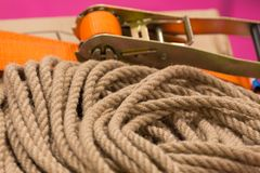 Rope and fastening. View of the rope and fastening royalty free stock photography