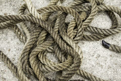 Rope with fiber knots. Natural objects royalty free stock images