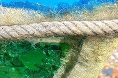 Rope on fishing boat Stock Image