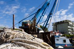 Rope and fishing net Royalty Free Stock Images