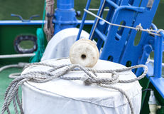Rope and fishing on a vessel deck Royalty Free Stock Photography