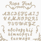 Rope font, nautical hand written Letters. Sea style rope-characters, decorative Latin alphabet Stock Photography