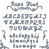 Rope font, nautical hand written Letters Stock Images