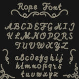 Rope font, nautical hand written Letters Royalty Free Stock Image
