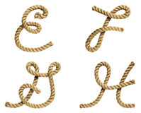 Rope forming letter A, B, C, D Royalty Free Stock Photo
