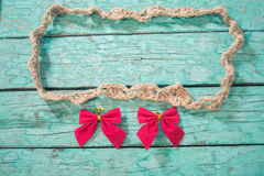 Rope frame with bows Stock Photography