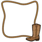 Rope Frame and Cowboy Boot Royalty Free Stock Image
