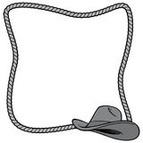 Rope Frame and Cowboy Hat Illustration. A vector cartoon illustration of a few Rope Border concepts stock illustration