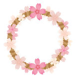 Rope frame of pink blossom. Rope frame of pink sakura blossom stock illustration