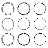 Rope frame. Set of round vector frames from nautical rope. Round marine rope for decoration. Vector Stock Images