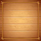 Rope Frame on Wood. Vector Template for Yuor Text royalty free illustration