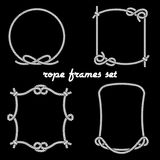 Rope Frames on Black Background. Set of Simple White Rope Frames Graphic Designs in Different Unique Styles on Black Background Royalty Free Stock Image