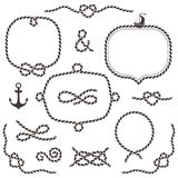 Rope frames, borders, knots. Hand drawn decorative elements vector illustration