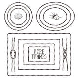 Rope frames, borders, knots. Hand drawn decorative elements. In nautical style Stock Image