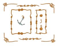 Rope frames and rope knots isolated vector Set royalty free illustration