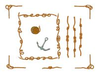 Rope frames and rope knots isolated vector Set stock illustration