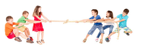 Rope game. Little kids playing the rope game isolated in white Stock Photography