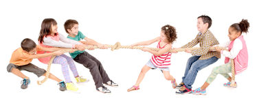 Rope game. Little kids playing pulling rope isolated in white Royalty Free Stock Image