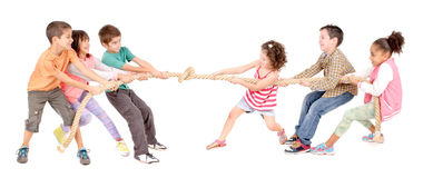 Rope game. Little kids playing pulling rope isolated in white Stock Image