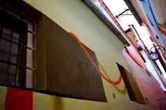 Rope gatan från Brasov Rumänien efter renovering med målning för väggen 3D royaltyfri bild