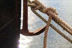 Rope grab with boat royalty free stock image