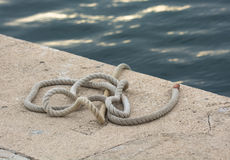 Rope on the Ground in the Harbor Stock Photos