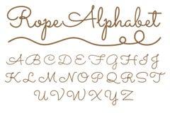 Rope hand drawn alphabet vector illustration