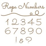Rope hand drawn number set stock illustration
