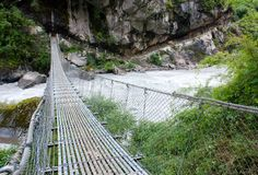 Rope hanging suspension bridge Stock Photography