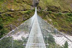 Rope hanging suspension bridge Royalty Free Stock Photos