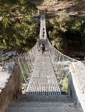 Rope hanging suspension bridge - Nepal Stock Photography